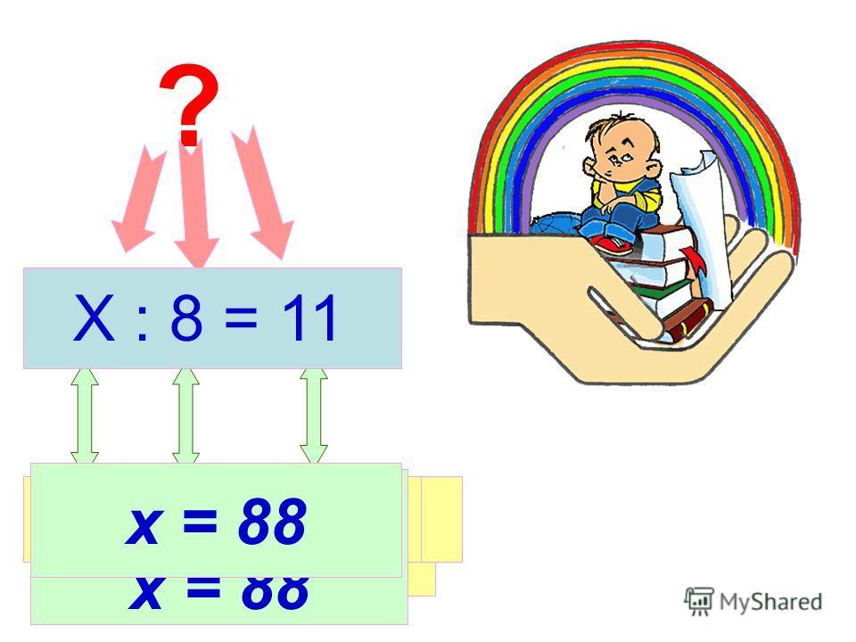 ? Делимое ДелительЧастное х = 8 * 11 х = 88 Х : 8 = 11