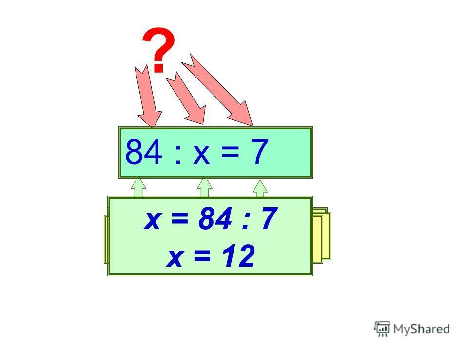 ? Делимое Делитель Частное х = 84 : 7 х = 12 84 : х = 7
