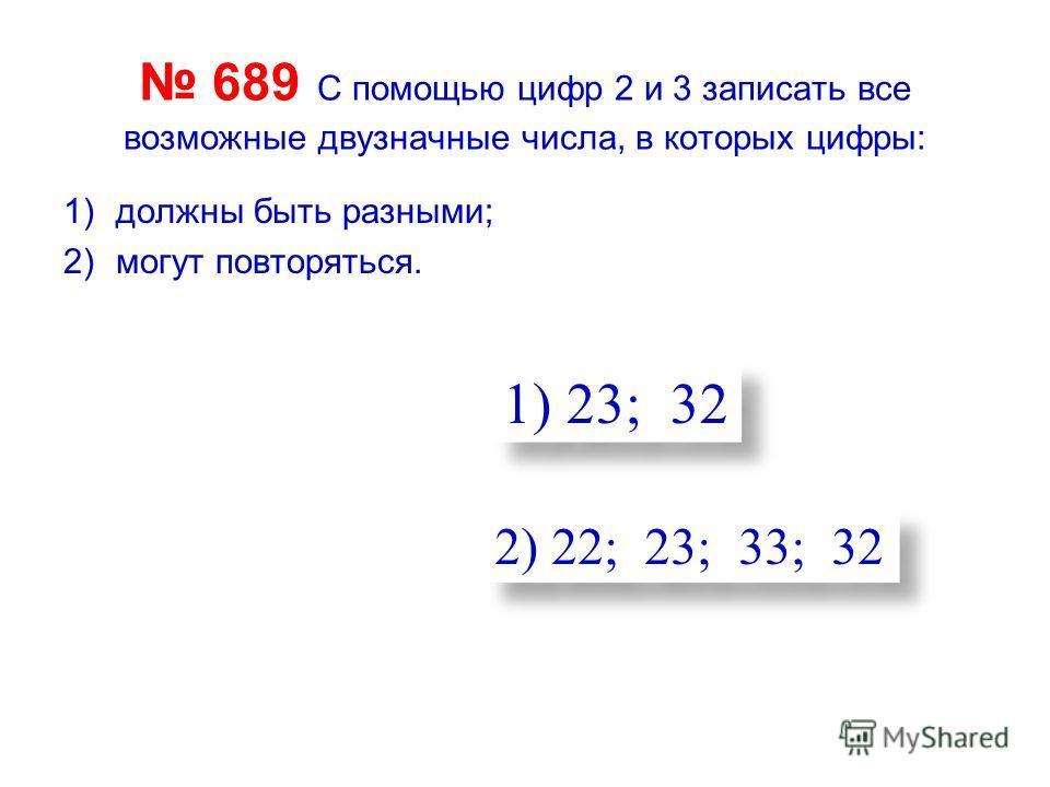 689 С помощью цифр 2 и 3 записать все возможные двузначные числа, в которых цифры: 1)должны быть разными; 2)могут повторяться. 1) 23; 32 2) 22; 23; 33; 32