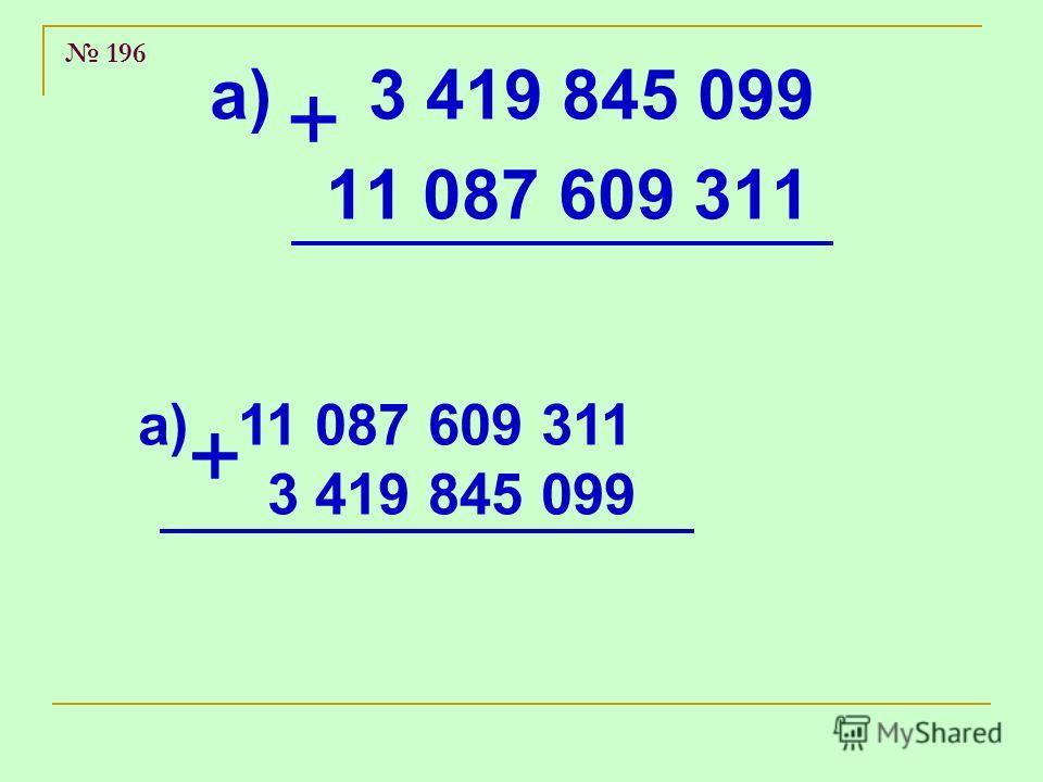 196 а) 3 419 845 099 11 087 609 311 + а) 11 087 609 311 3 419 845 099 +