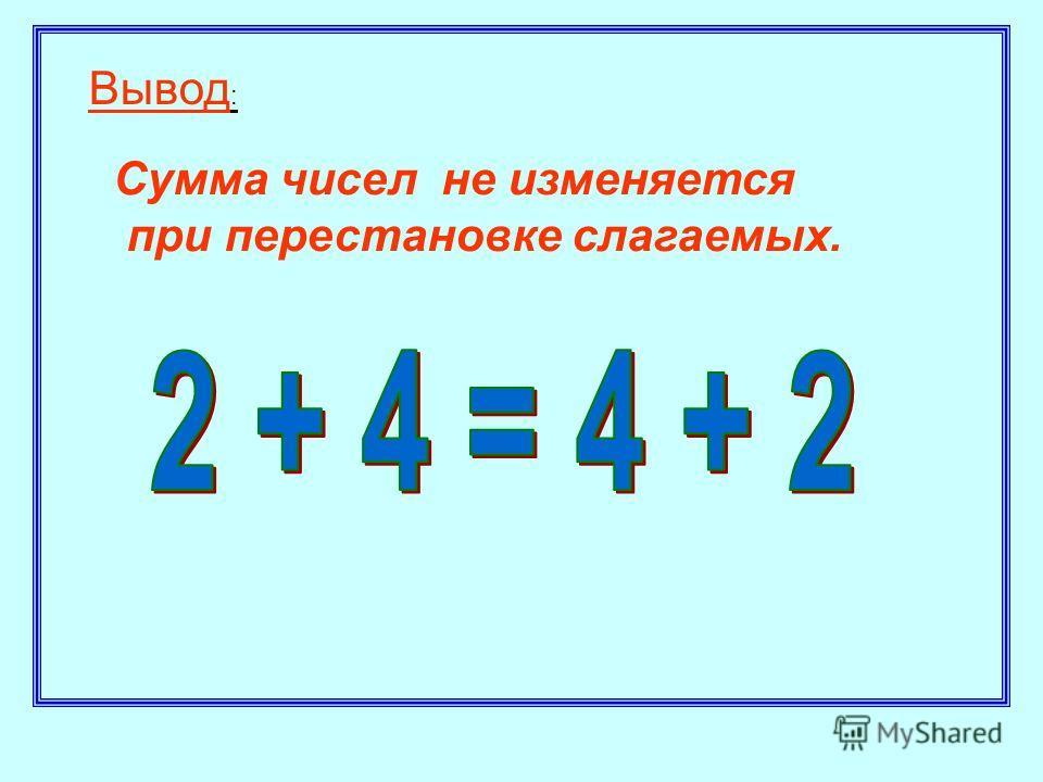 Вывод : Сумма чисел не изменяется при перестановке слагаемых.