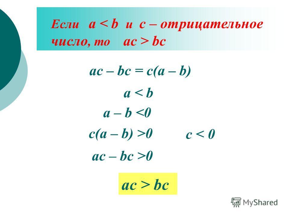 Если а bc ac – bc = c(a – b) a < b a – b 0 ac – bc >0 ac > bc c < 0