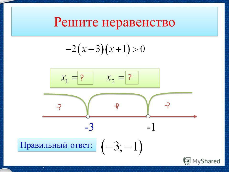 Решите неравенство -3 ? - ? + ? - Правильный ответ: ? ? ? ?