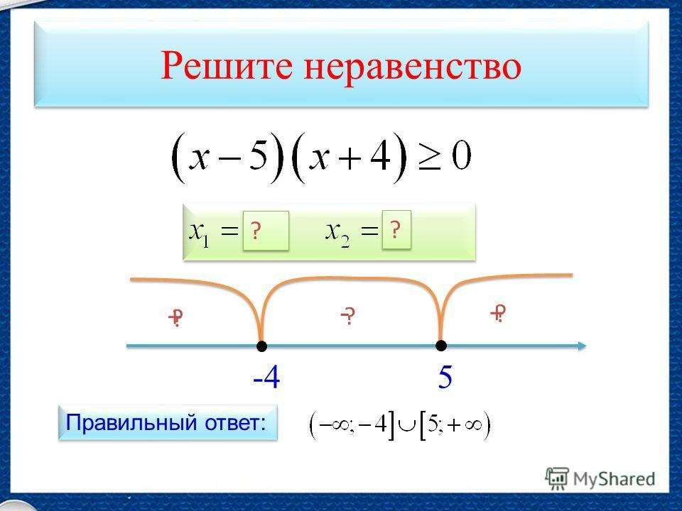 Решите неравенство 5-4 ? + ? - ? + Правильный ответ: ? ? ? ?