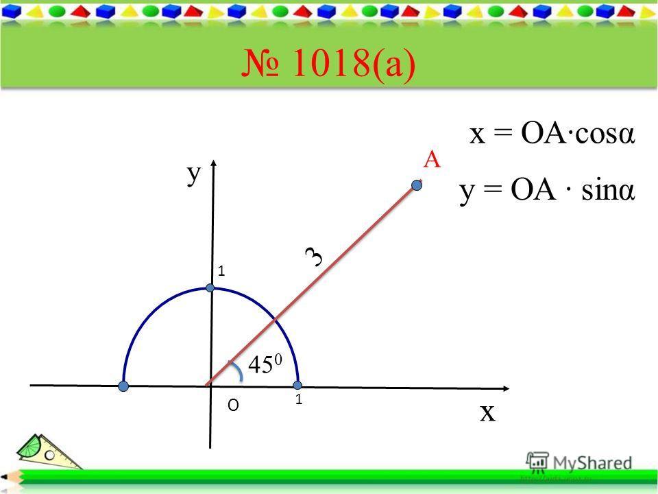 1018(а) х у O А 1 1 45 0 3 x = ОАcosα y = ОА sinα