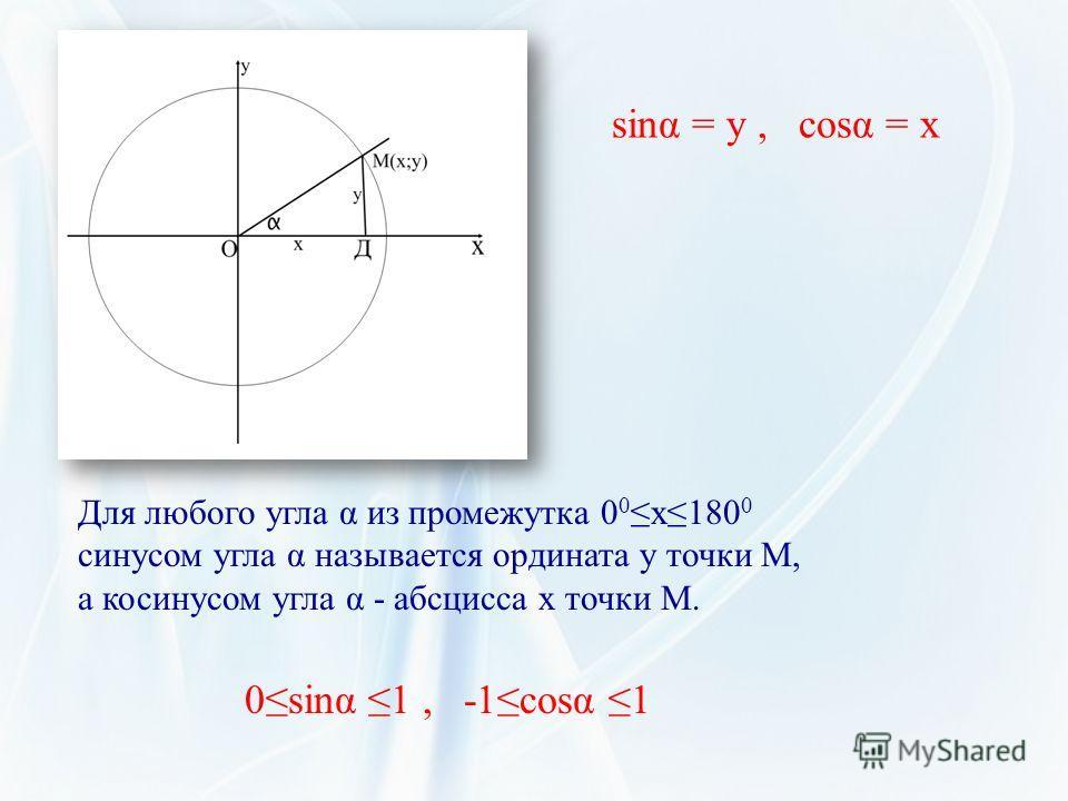 sinα = y, cosα = x Для любого угла α из промежутка 0 0 х180 0 синусом угла α называется ордината у точки М, а косинусом угла α - абсцисса х точки М. 0sinα 1, -1cosα 1