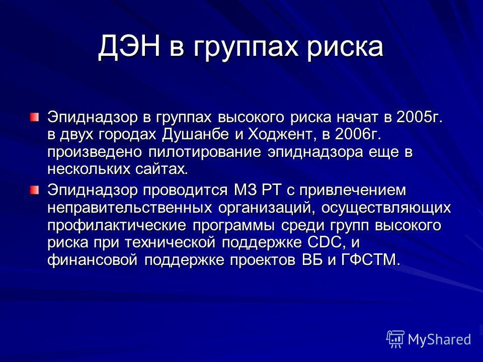 ДЭН в группах риска Эпиднадзор в группах высокого риска начат в 2005г. в двух городах Душанбе и Ходжент, в 2006г. произведено пилотирование эпиднадзора еще в нескольких сайтах. Эпиднадзор проводится МЗ РТ с привлечением неправительственных организаци