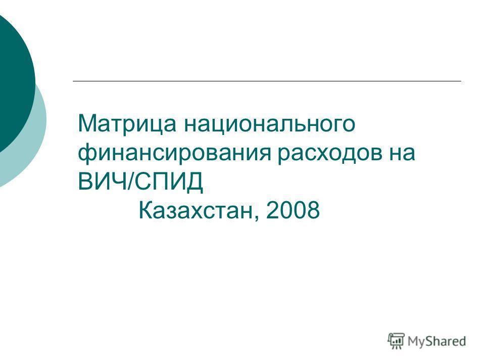 Матрица национального финансирования расходов на ВИЧ/СПИД Казахстан, 2008