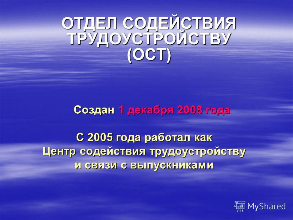 Создан 1 декабря 2008 года С 2005 года работал как Центр содействия трудоустройству и связи с выпускниками ОТДЕЛ СОДЕЙСТВИЯ ТРУДОУСТРОЙСТВУ (ОСТ)