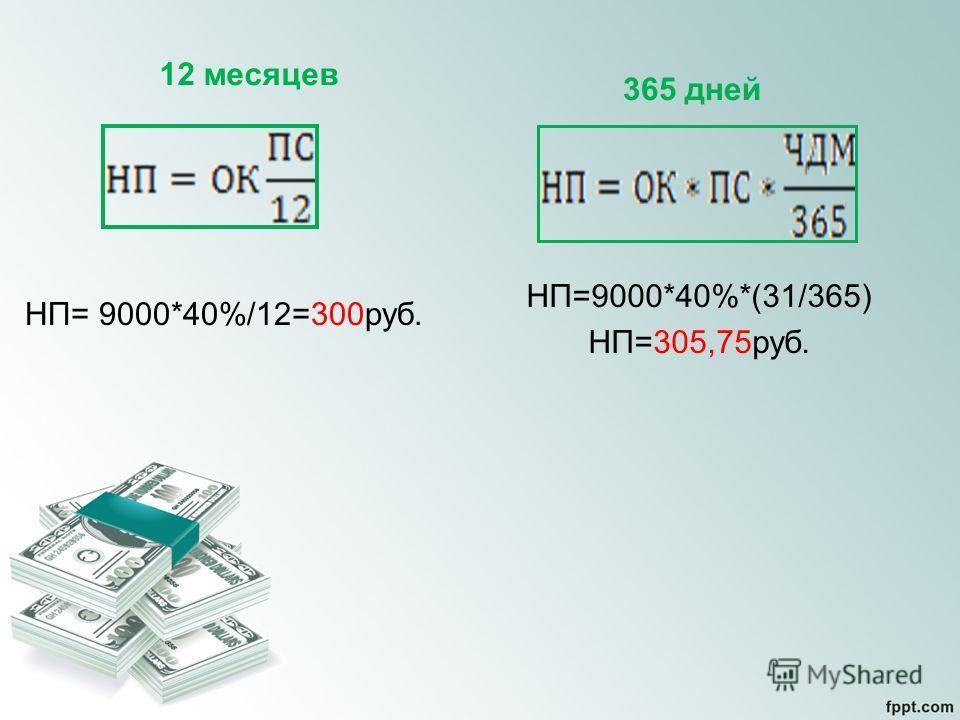 12 месяцев НП= 9000*40%/12=300руб. 365 дней НП=9000*40%*(31/365) НП=305,75руб.
