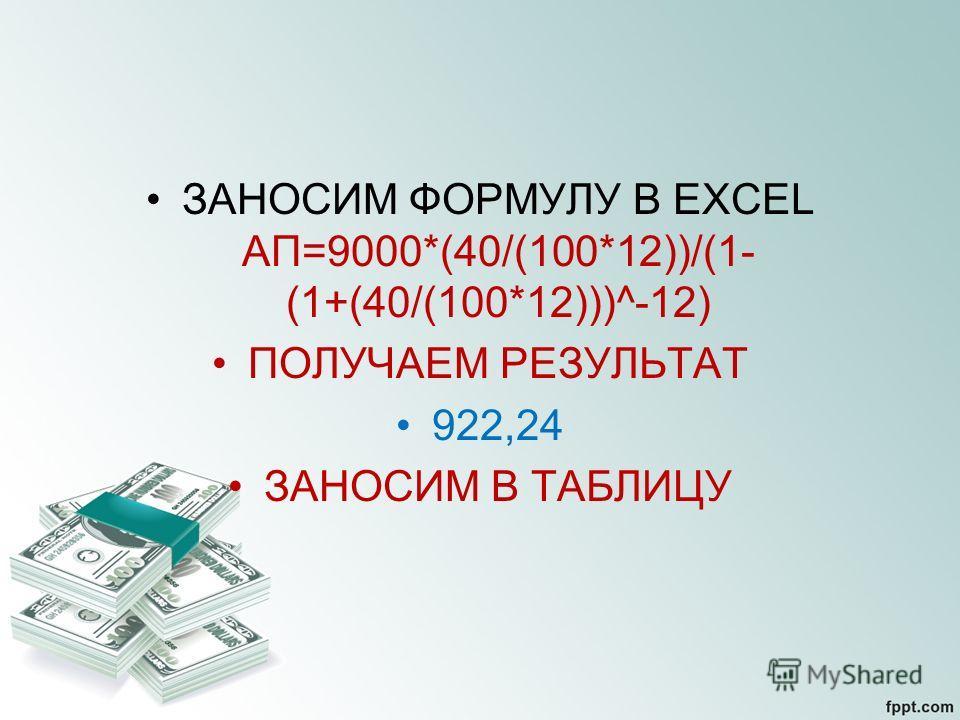 ЗАНОСИМ ФОРМУЛУ В EXCEL АП=9000*(40/(100*12))/(1- (1+(40/(100*12)))^-12) ПОЛУЧАЕМ РЕЗУЛЬТАТ 922,24 ЗАНОСИМ В ТАБЛИЦУ