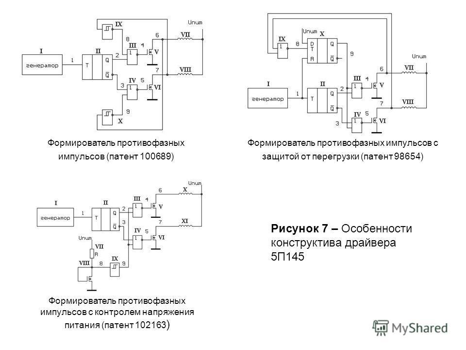 Формирователь противофазных импульсов (патент 100689) Формирователь противофазных импульсов с защитой от перегрузки (патент 98654) Формирователь противофазных импульсов с контролем напряжения питания (патент 102163 ) Рисунок 7 – Особенности конструкт
