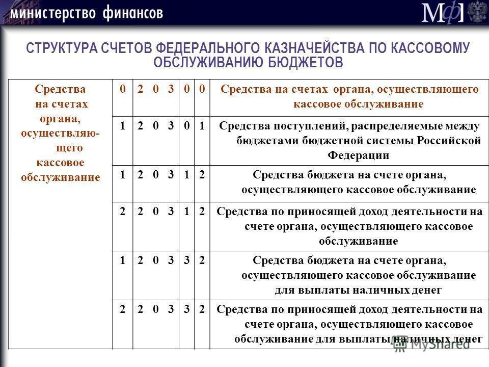 СТРУКТУРА СЧЕТОВ ФЕДЕРАЛЬНОГО КАЗНАЧЕЙСТВА ПО КАССОВОМУ ОБСЛУЖИВАНИЮ БЮДЖЕТОВ Средства на счетах органа, осуществляю- щего кассовое обслуживание 020300Средства на счетах органа, осуществляющего кассовое обслуживание 120301Средства поступлений, распре