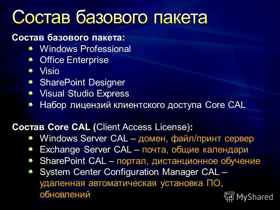 Состав базового пакета: Windows Professional Office Enterprise Visio SharePoint Designer Visual Studio Express Набор лицензий клиентского доступа Core CAL Состав Core CAL (Client Access License): Windows Server CAL – домен, файл/принт сервер Exchange