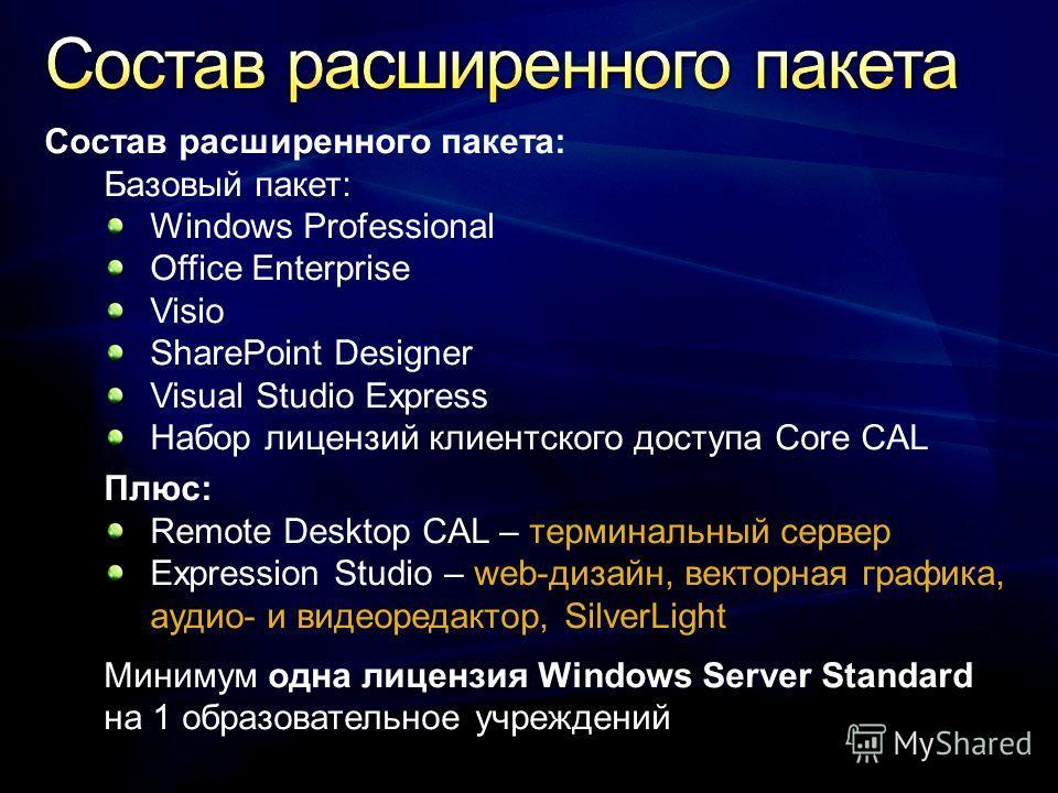 Состав расширенного пакета: Базовый пакет: Windows Professional Office Enterprise Visio SharePoint Designer Visual Studio Express Набор лицензий клиентского доступа Core CAL Плюс: Remote Desktop CAL – терминальный сервер Expression Studio – web-дизай