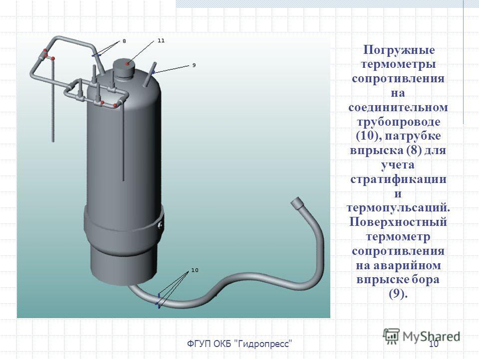ФГУП ОКБ Гидропресс10 Погружные термометры сопротивления на соединительном трубопроводе (10), патрубке впрыска (8) для учета стратификации и термопульсаций. Поверхностный термометр сопротивления на аварийном впрыске бора (9).
