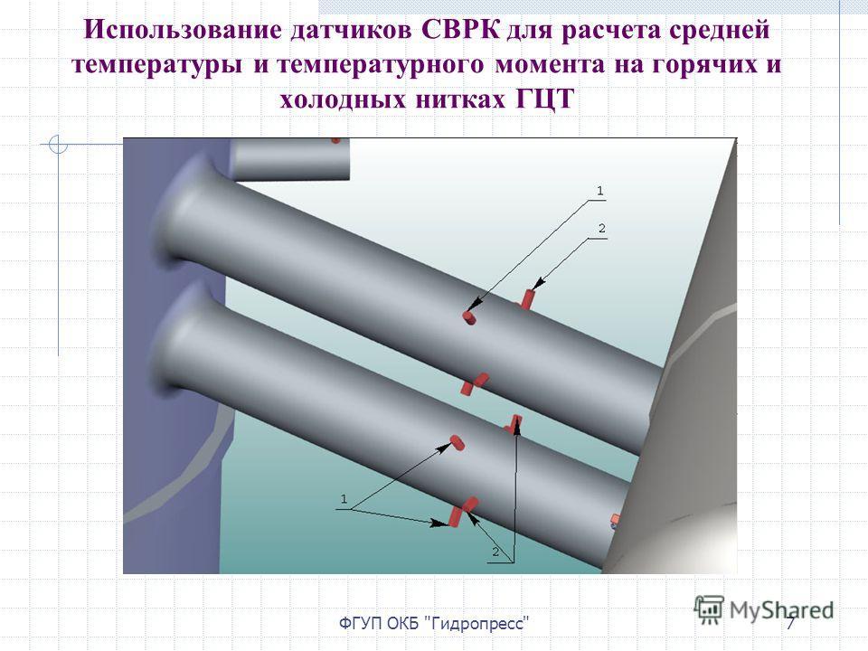 ФГУП ОКБ Гидропресс7 Использование датчиков СВРК для расчета средней температуры и температурного момента на горячих и холодных нитках ГЦТ