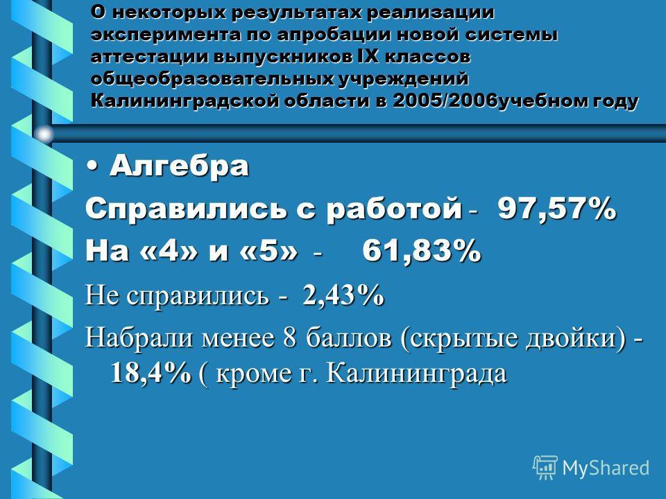 О некоторых результатах реализации эксперимента по апробации новой системы аттестации выпускников IX классов общеобразовательных учреждений Калининградской области в 2005/2006учебном году АлгебраАлгебра Справились с работой - 97,57% На «4» и «5» - 61