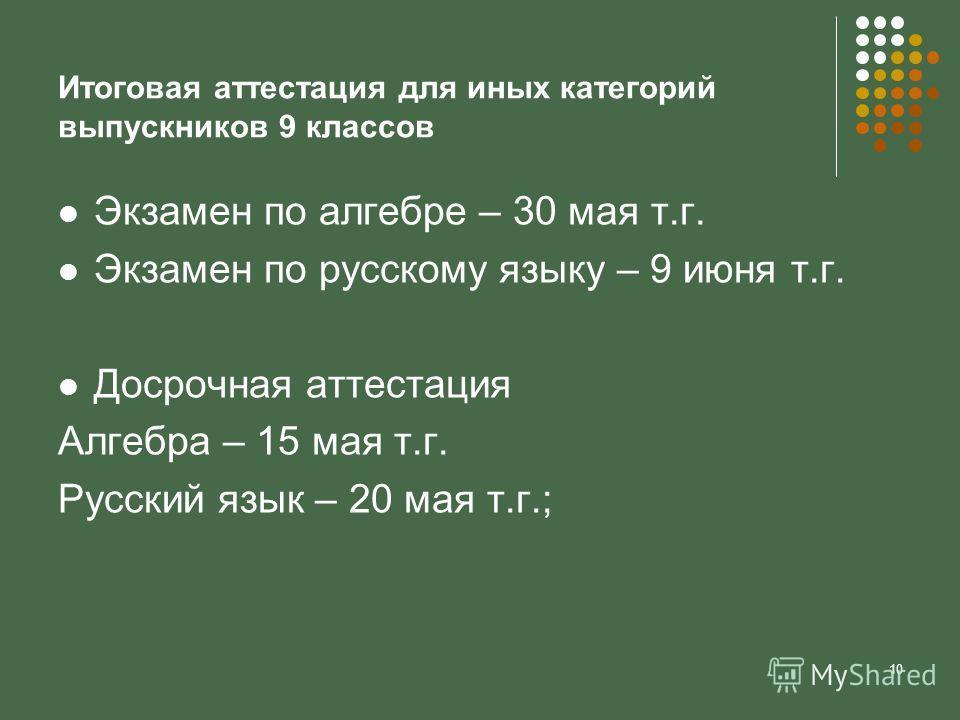 10 Итоговая аттестация для иных категорий выпускников 9 классов Экзамен по алгебре – 30 мая т.г. Экзамен по русскому языку – 9 июня т.г. Досрочная аттестация Алгебра – 15 мая т.г. Русский язык – 20 мая т.г.;