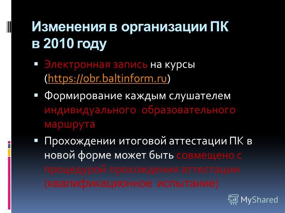 Изменения в организации ПК в 2010 году Электронная запись на курсы (https://obr.baltinform.ru)https://obr.baltinform.ru Формирование каждым слушателем индивидуального образовательного маршрута Прохождении итоговой аттестации ПК в новой форме может бы
