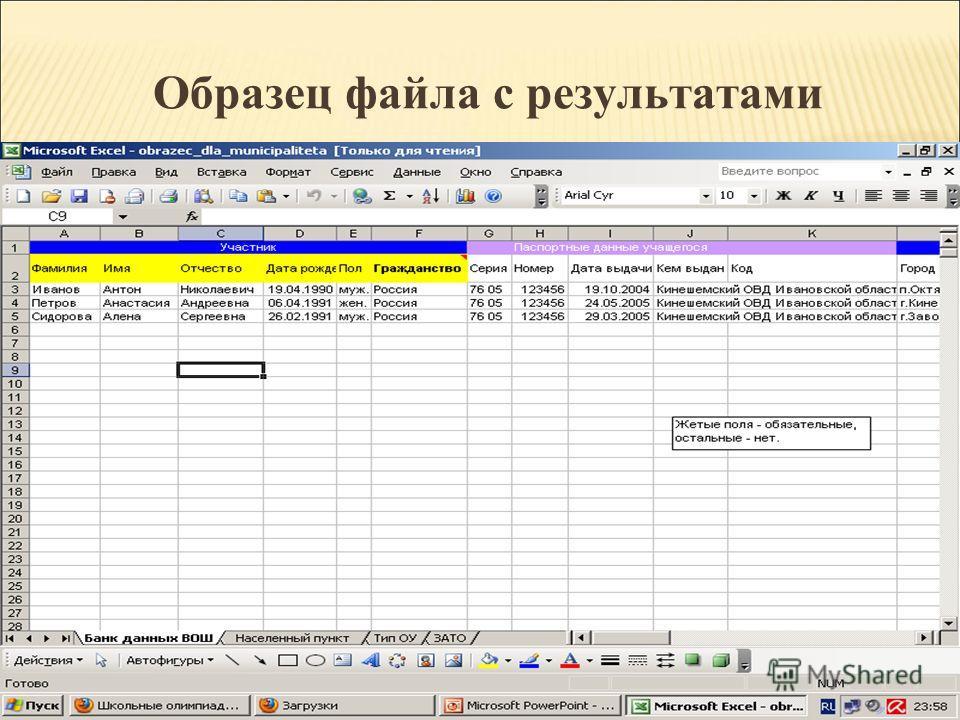 Образец файла с результатами