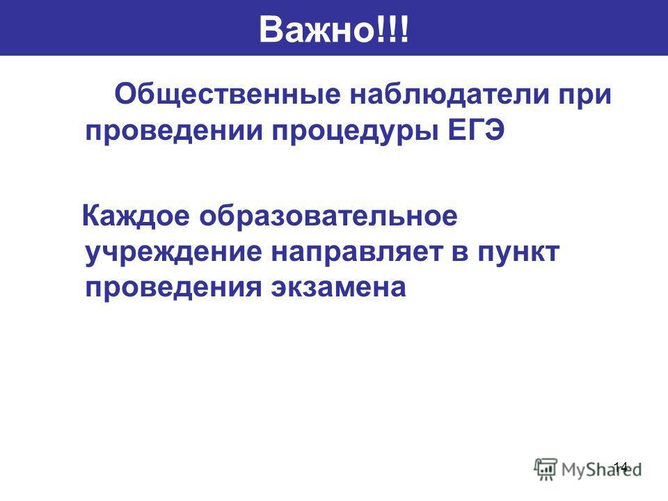 14 Важно!!! Общественные наблюдатели при проведении процедуры ЕГЭ Каждое образовательное учреждение направляет в пункт проведения экзамена