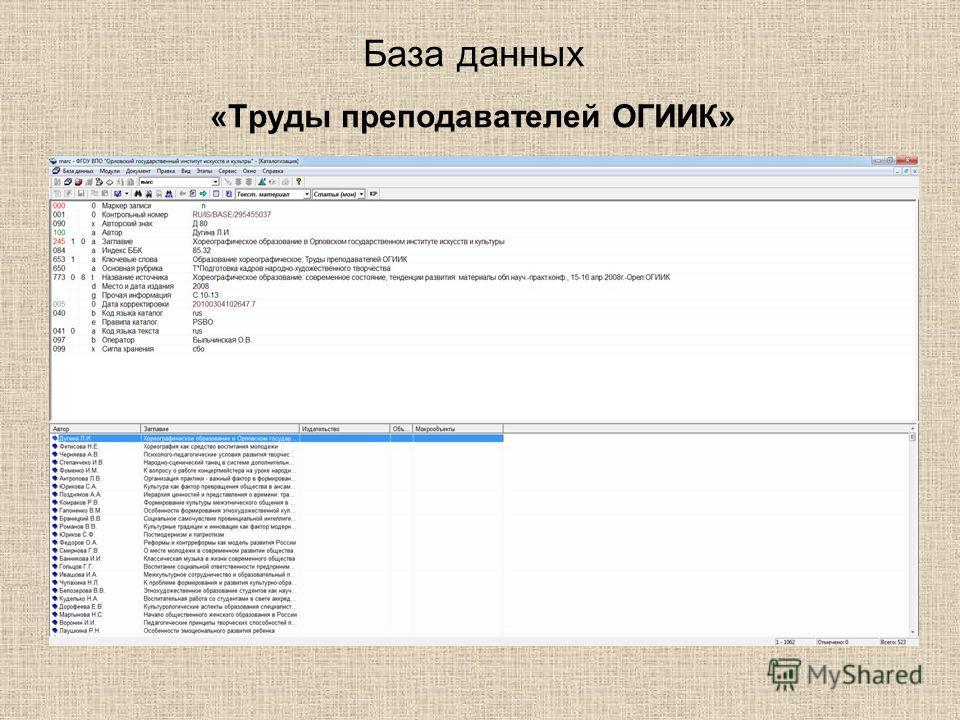 База данных «Труды преподавателей ОГИИК»