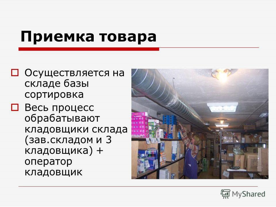 Приемка товара Осуществляется на складе базы сортировка Весь процесс обрабатывают кладовщики склада (зав.складом и 3 кладовщика) + оператор кладовщик
