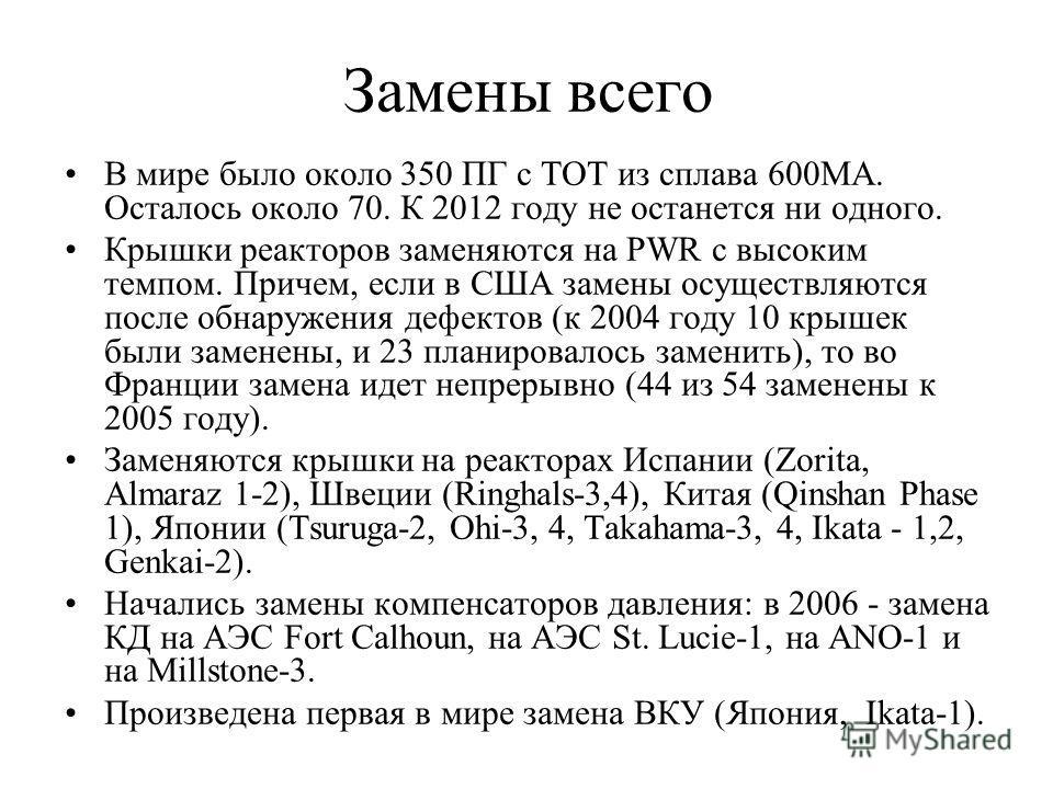 Замены всего В мире было около 350 ПГ с ТОТ из сплава 600МА. Осталось около 70. К 2012 году не останется ни одного. Крышки реакторов заменяются на PWR с высоким темпом. Причем, если в США замены осуществляются после обнаружения дефектов (к 2004 году
