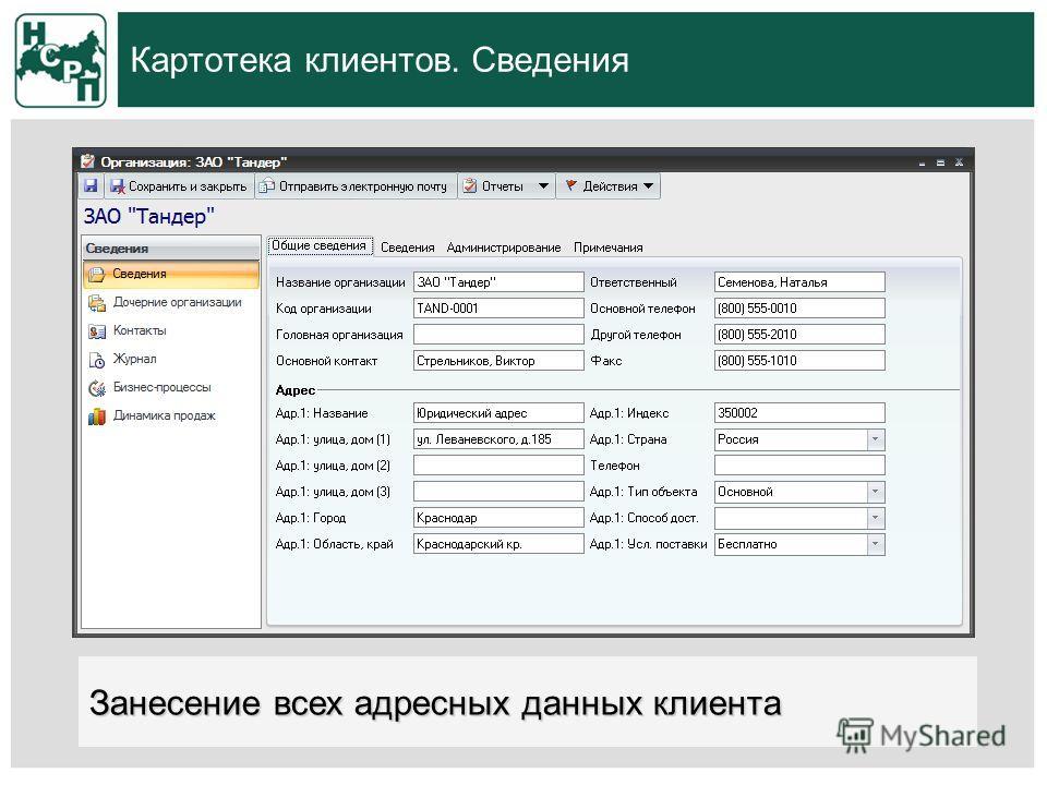 Картотека клиентов. Сведения Занесение всех адресных данных клиента