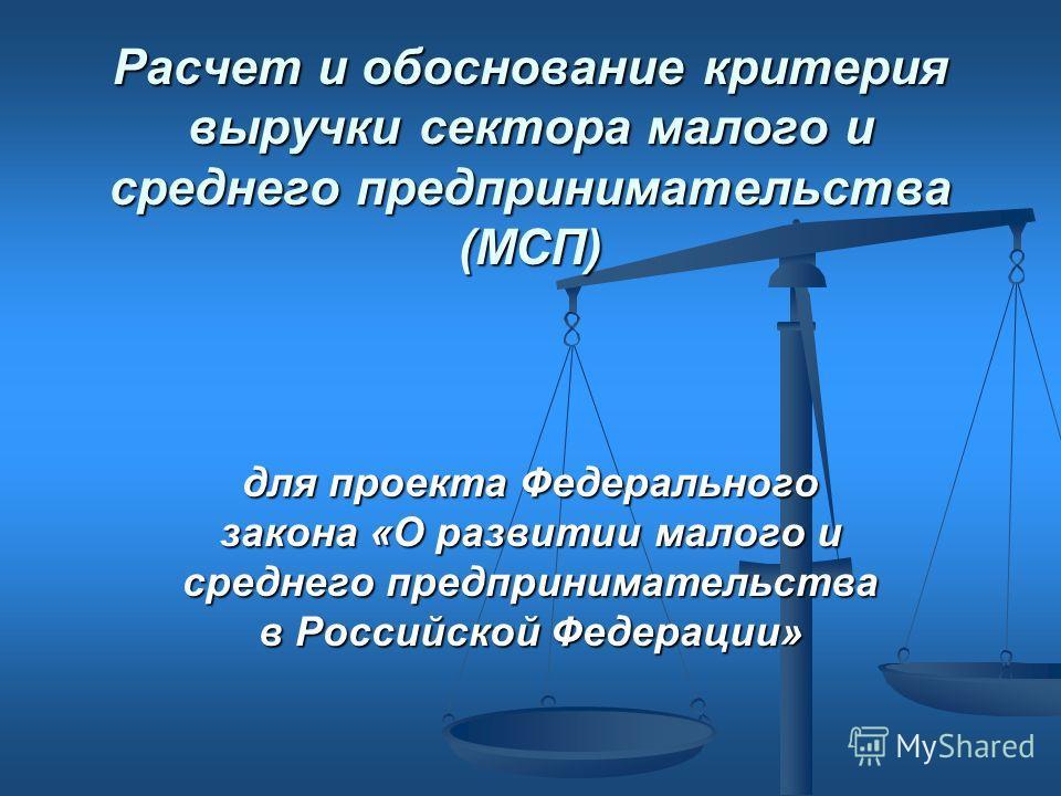 Расчет и обоснование критерия выручки сектора малого и среднего предпринимательства (МСП) для проекта Федерального закона «О развитии малого и среднего предпринимательства в Российской Федерации»