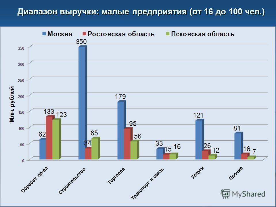 Диапазон выручки: малые предприятия (от 16 до 100 чел.)