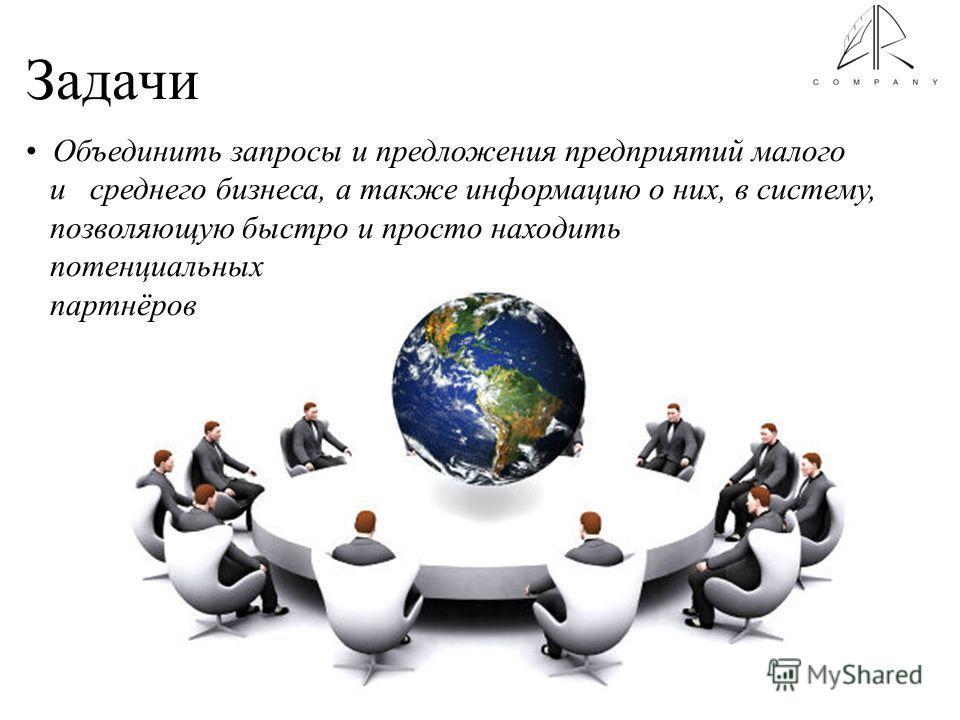 Задачи Объединить запросы и предложения предприятий малого и среднего бизнеса, а также информацию о них, в систему, позволяющую быстро и просто находить потенциальных партнёров
