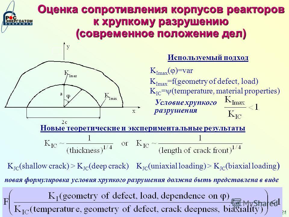 21 Оценка сопротивления корпусов реакторов к хрупкому разрушению (современное положение дел) Используемый подход K Imax ( )=var K Imax =f(geometry of defect, load) K IC = (temperature, material properties) Условие хрупкого разрушения Новые теоретичес
