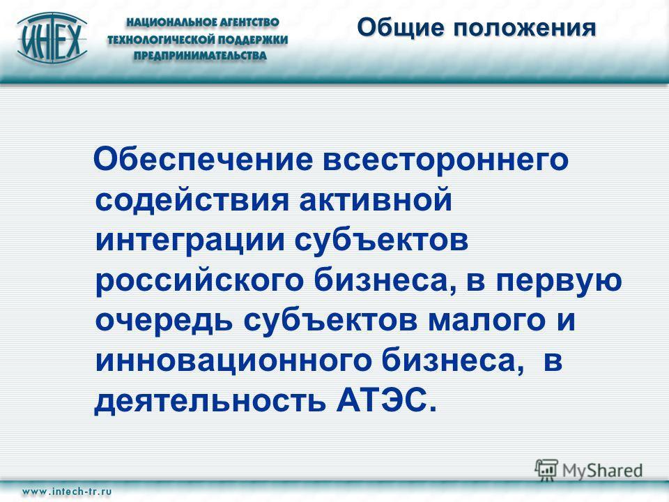Общие положения Обеспечение всестороннего содействия активной интеграции субъектов российского бизнеса, в первую очередь субъектов малого и инновационного бизнеса, в деятельность АТЭС.