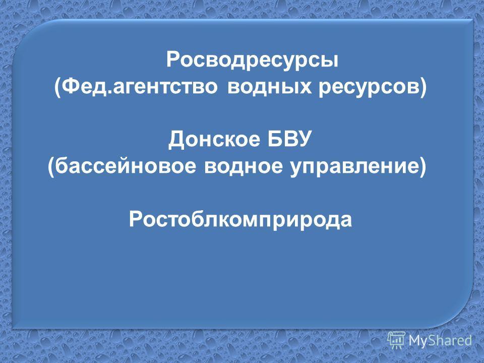 Росводресурсы (Фед.агентство водных ресурсов) Донское БВУ (бассейновое водное управление) Ростоблкомприрода