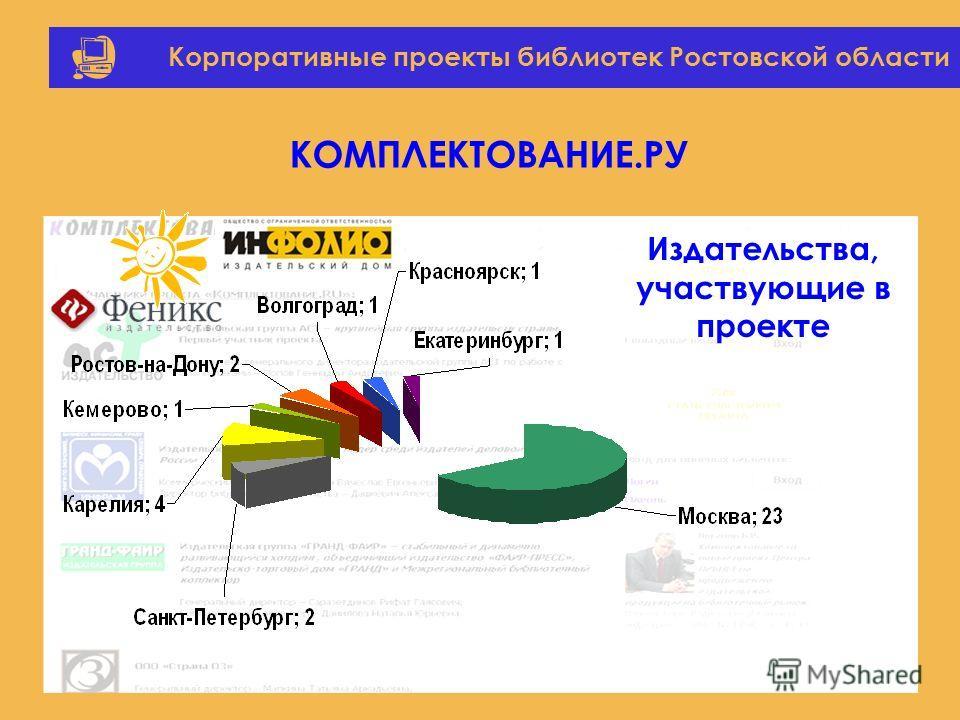 Корпоративные проекты библиотек Ростовской области КОМПЛЕКТОВАНИЕ.РУ Издательства, участвующие в проекте