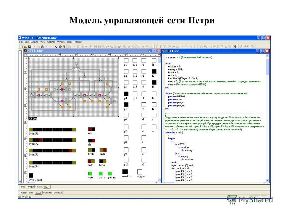 Модель управляющей сети Петри