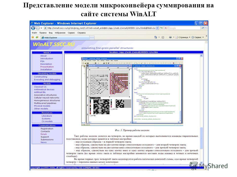 Представление модели микроконвейера суммирования на сайте системы WinALT