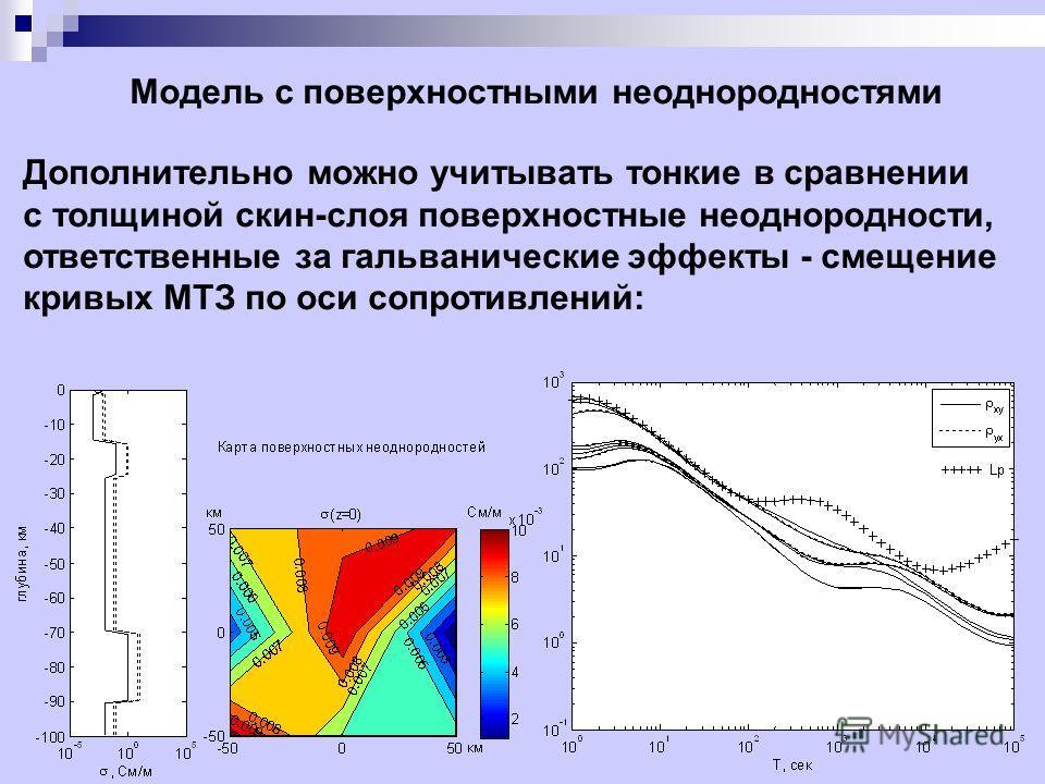 Модель с поверхностными неоднородностями Дополнительно можно учитывать тонкие в сравнении с толщиной скин-слоя поверхностные неоднородности, ответственные за гальванические эффекты - смещение кривых МТЗ по оси сопротивлений: