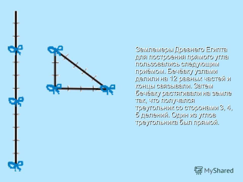 Землемеры Древнего Египта для построения прямого угла пользовались следующим приёмом. Бечёвку узлами делили на 12 равных частей и концы связывали. Затем бечёвку растягивали на земле так, что получался треугольник со сторонами 3, 4, 5 делений. Один из