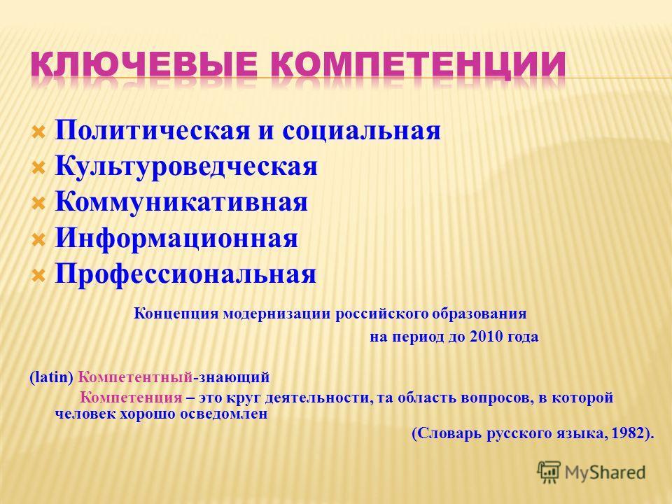 Политическая и социальная Культуроведческая Коммуникативная Информационная Профессиональная Концепция модернизации российского образования на период до 2010 года (latin) Компетентный-знающий Компетенция – это круг деятельности, та область вопросов, в