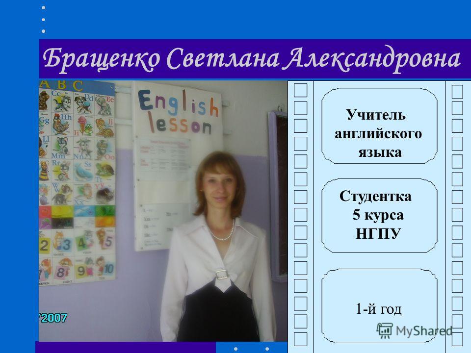 Бращенко Светлана Александровна Учитель английского языка Студентка 5 курса НГПУ 1-й год