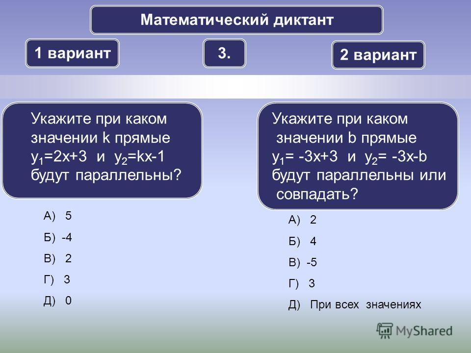 Математический диктант 1 вариант 2 вариант 3.3. А) 5 Б) -4 В) 2 Г) 3 Д) 0 Укажите при каком значении k прямые y 1 =2x+3 и y 2 =kx-1 будут параллельны? Укажите при каком значении b прямые y 1 = -3x+3 и y 2 = -3x-b будут параллельны или совпадать? А) 2