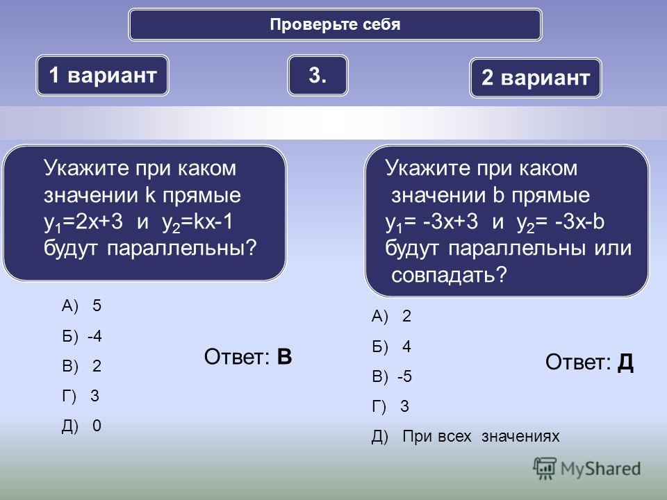 Проверьте себя 1 вариант 2 вариант 3.3. А) 5 Б) -4 В) 2 Г) 3 Д) 0 Укажите при каком значении k прямые y 1 =2x+3 и y 2 =kx-1 будут параллельны? Укажите при каком значении b прямые y 1 = -3x+3 и y 2 = -3x-b будут параллельны или совпадать? А) 2 Б) 4 В)