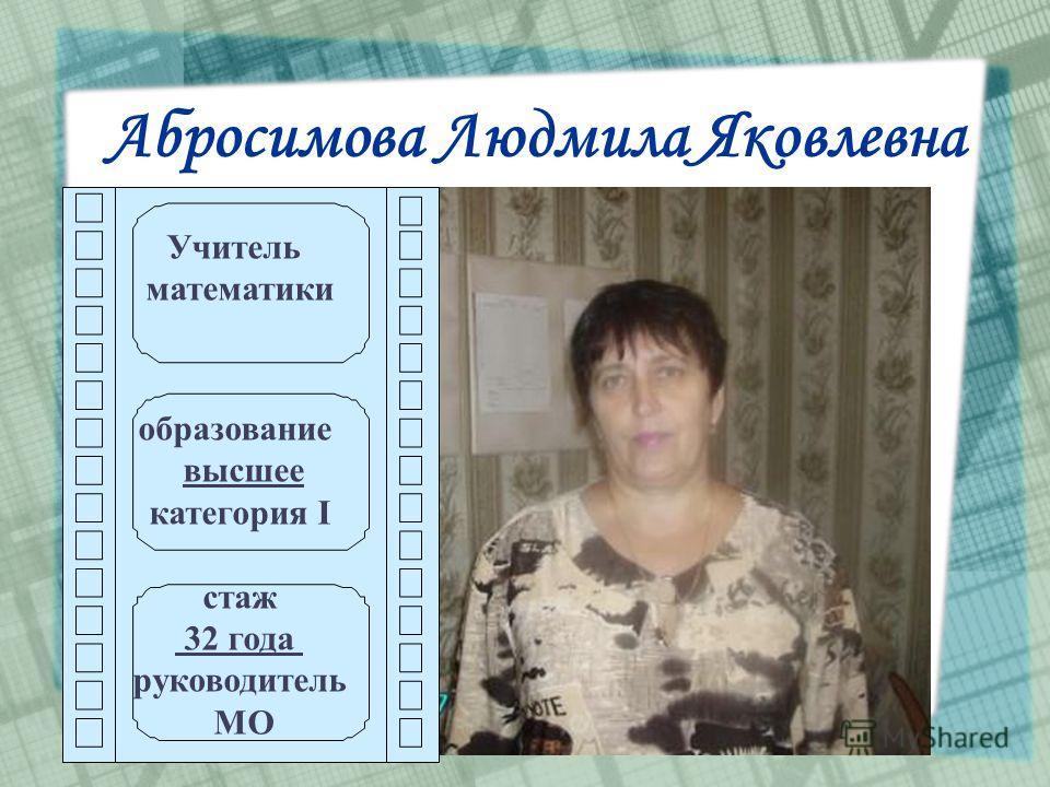 Абросимова Людмила Яковлевна Учитель математики образование высшее категория I стаж 32 года руководитель МО