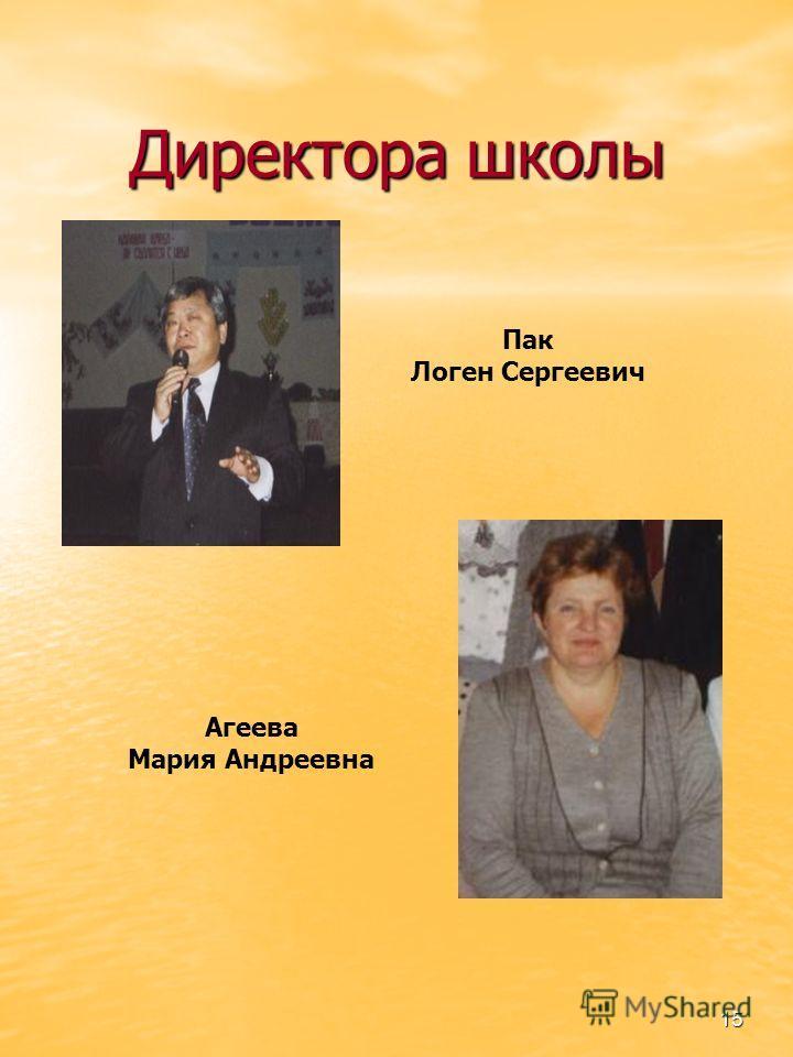 15 Директора школы Агеева Мария Андреевна Пак Логен Сергеевич