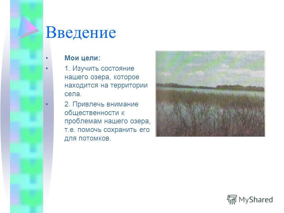 Введение Мои цели: 1. Изучить состояние нашего озера, которое находится на территории села. 2. Привлечь внимание общественности к проблемам нашего озера, т.е. помочь сохранить его для потомков.