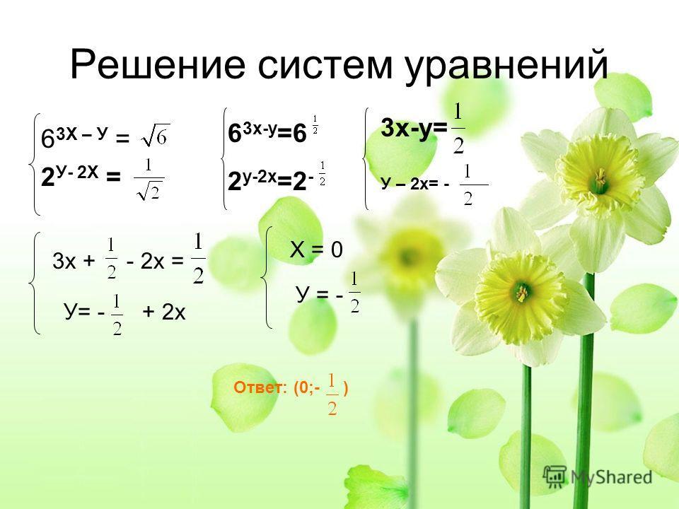 Решение систем уравнений 6 3Х – У = 2 У- 2Х = 6 3х-y =6 2 y-2х =2 - 3х-y= У – 2х= - 3х + - 2х = У= - + 2х Х = 0 У = - Ответ: (0;- )