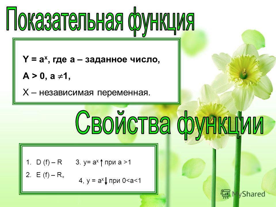 Y = а x, где а – заданное число, А > 0, а 1, X – независимая переменная. 1.D (f) – R 2.E (f) – R + 3. y= a x при а >1 4, y = a x при 0